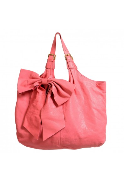 Red Valentino Women's Pink 100% Leather Bow Decorated Large Tote Shoulder Bag