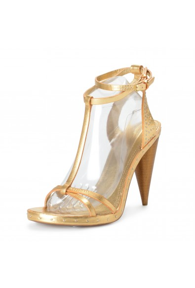 """BURBERRY """"London"""" Women's Gold Leather Ankle Strap High Heels Sandals Shoes"""
