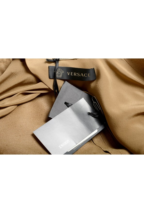 Versace Women's Sand Brown Silk Two Button Blazer Jacket: Picture 5