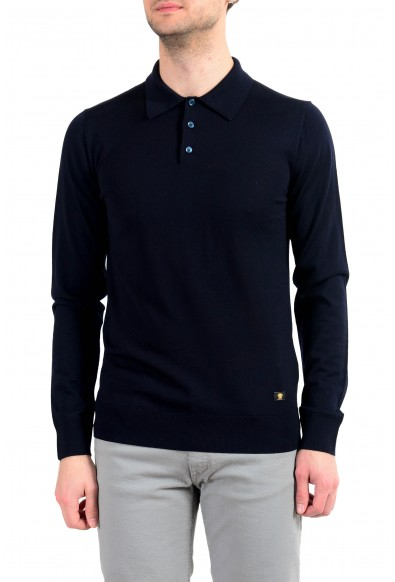 Versace Men's 100% Wool Navy Blue Polo Style Pullover Sweater