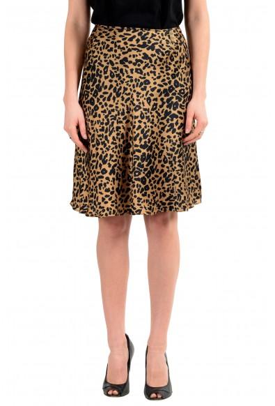John Galliano Women's Fucsia 100% Silk Animal Print Flare Skirt