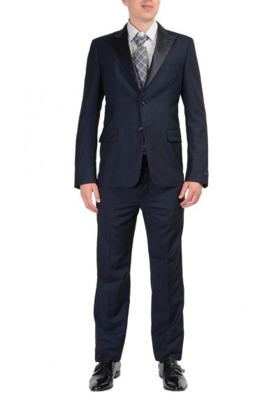 Prada Wool Navy Tuxedo Style Two Buttons Men's Suit