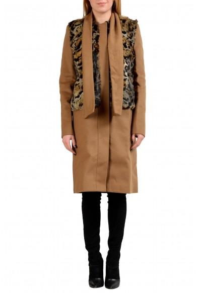 Just Cavalli Wool Rabbit Hair Brown Women's Basic Coat