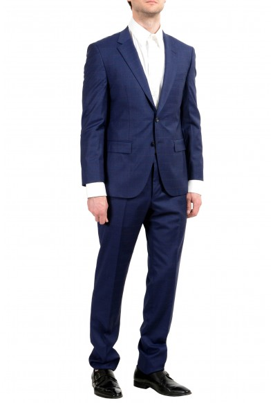 """Hugo Boss """"T-Harvers4/Glover3"""" Men's 100% Wool Blue Plaid Slim Two Button Suit: Picture 2"""
