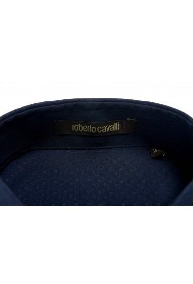 Roberto Cavalli Men's Navy Blue Slim Long Sleeve Dress Shirt: Picture 2