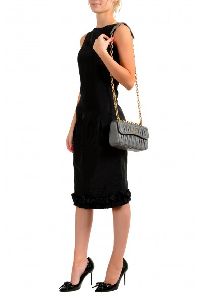 Miu Miu Women's 5BD140 Gray Leather Chain Shoulder Bag: Picture 2
