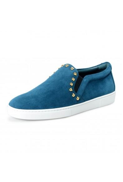 Salvatore Ferragamo Women's Sea Green SPARGI Studded Suede Loafers Slip On Shoes