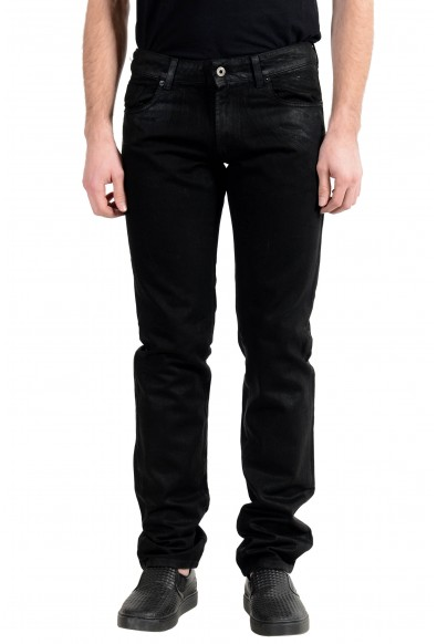 Exte Men's Black Coated Straight Leg Jeans