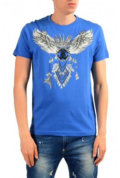 Roberto Cavalli Men's Bright Blue Graphic Print T-Shirt