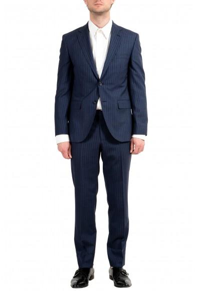 "Hugo Boss ""Johnstons5/Lenon1"" Men's 100% Wool Blue Striped Two Button Suit"