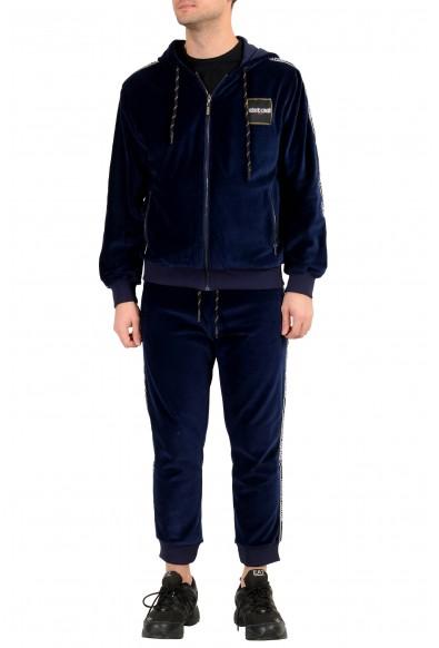 "Roberto Cavalli ""Sport"" Men's Blue Velour Hooded Full Zip Track Suit"