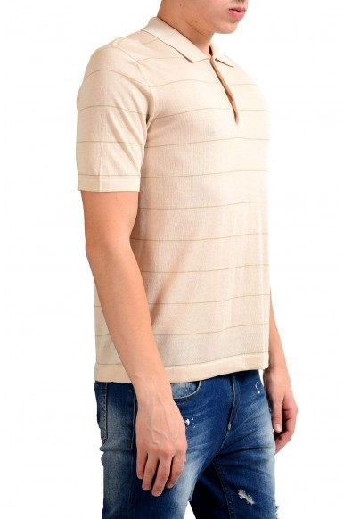 Malo Men's Beige Striped Knitted Short Sleeve Polo Shirt: Picture 2