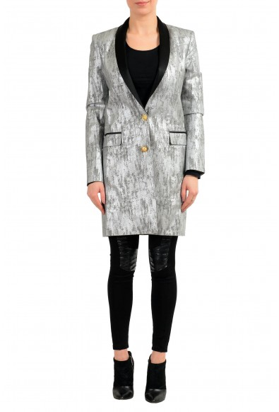 Versace Versus Silver Black One Button Women's Blazer Coat