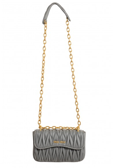 Miu Miu Women's 5BD140 Gray Leather Chain Shoulder Bag