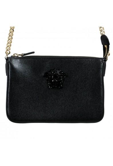 Versace 100% Leather Black Removable Chain Strap Women's Crossbody Shoulder Bag: Picture 2