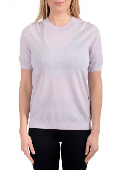 Burberry Women's Pale Purple 100% Wool Knitted Sweater Blouse Top