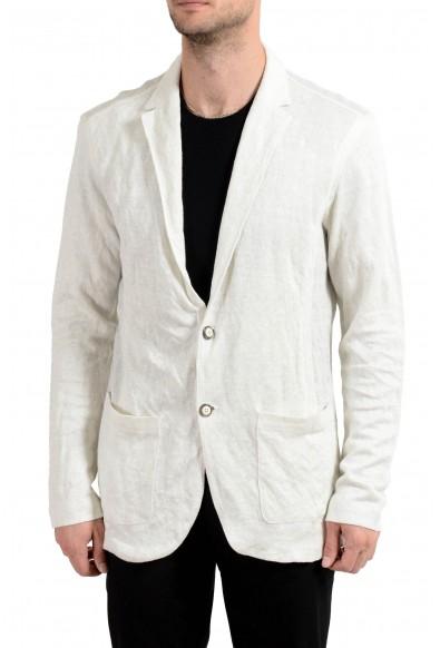 John Varvatos Men's Linen Knitted Two Button Blazer Sport Coat