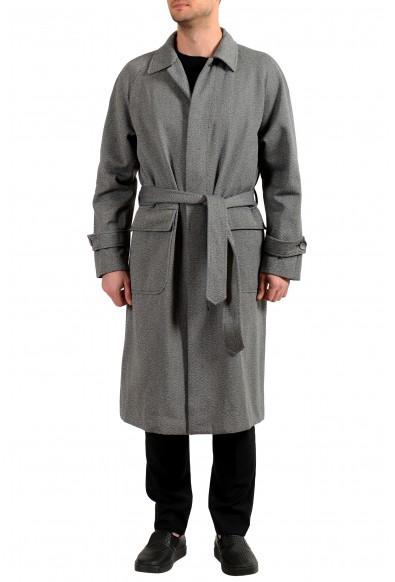 """Hugo Boss Men's """"Gibor"""" Gray Wool Belted Long Coat"""