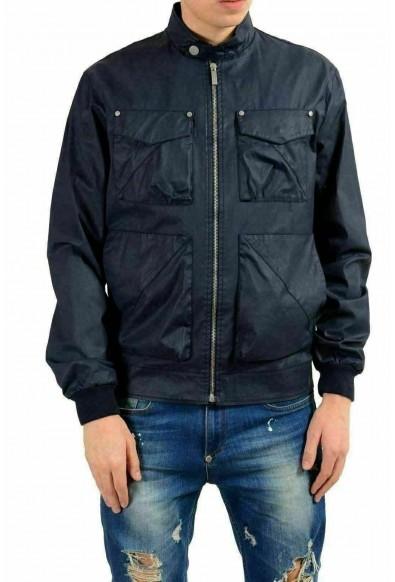 Versace Jeans Men's Dark Blue Full Zip Coated Windbreaker Jacket