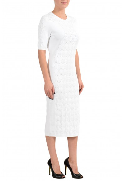 Versace Women's White Knitted Short Sleeve Sheath Dress: Picture 2