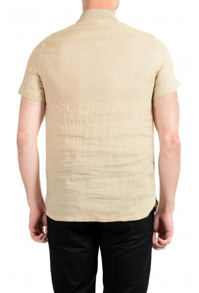 Malo Men's Beige 100% Linen Short Sleeve Casual Shirt: Picture 2