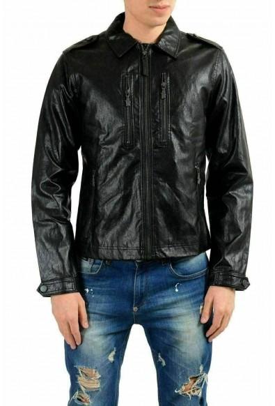 Versace Jeans Men's Black Faux Leather Full Zip Jacket