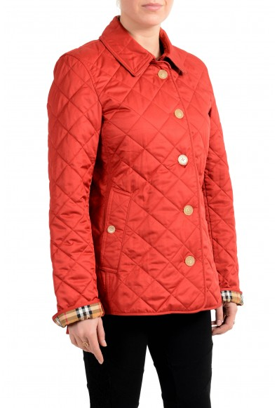 Burberry Women's Red Quilted Button Down Jacket Coat: Picture 2