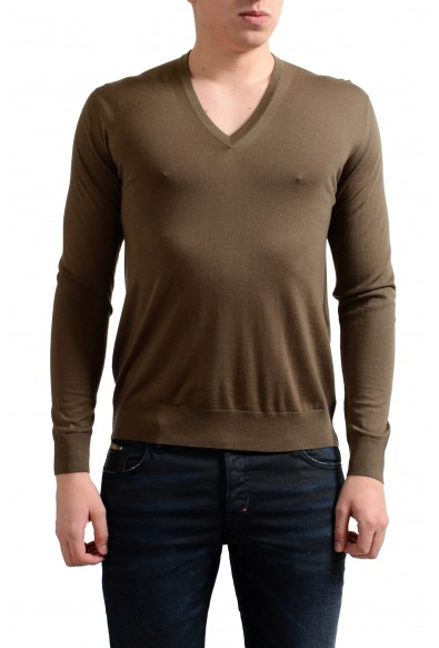 Prada Men's 100% Wool Brown V-Neck Pullover Sweater