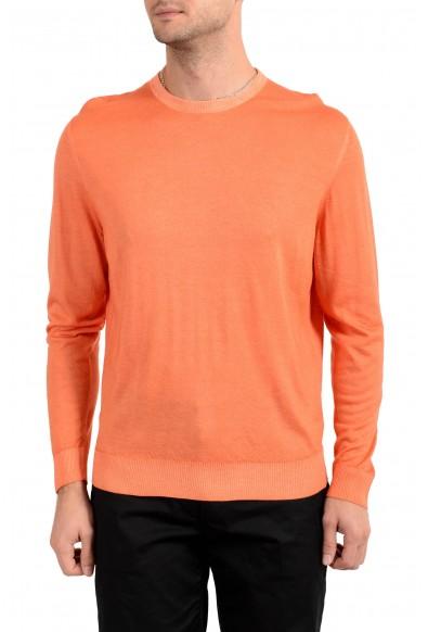 Kiton Napoli Men's Orange Crewneck Silk Cashmere Pullover Sweater