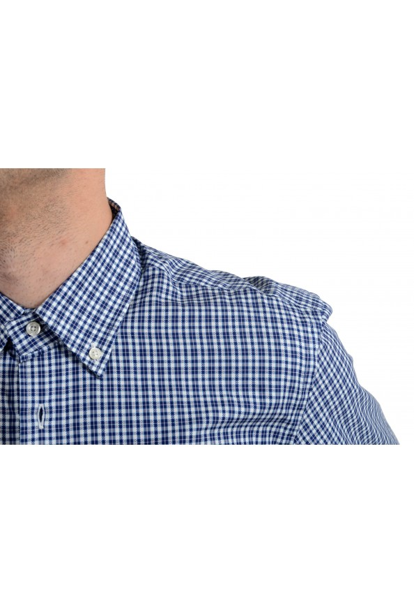Etro Men's Blue & White Plaid Long Sleeve Dress Shirt : Picture 4