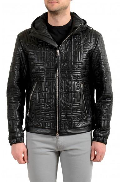 """Hugo Boss Men's """"Arock2"""" 100% Leather Black Hooded Bomber Jacket"""