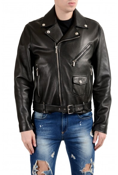 Versace Men's 100% Leather Black Belted Double Breasted Jacket