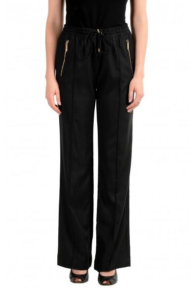 Versace Women's Black 100% Silk Elastic Waist Pants