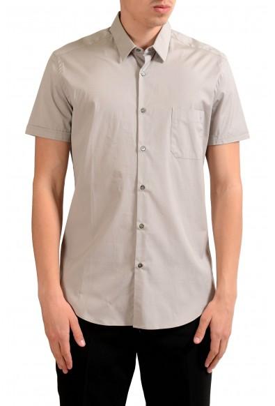 Fendi Men's Beige Short Sleeve Dress Shirt