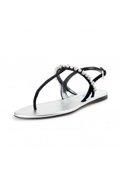 Prada Women's Black Beaded Suede Leather Sandals Shoes