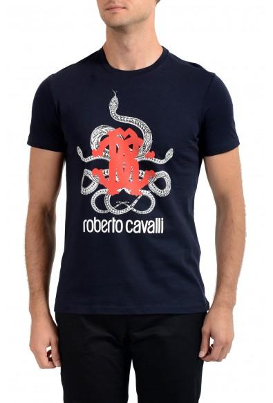 Roberto Cavalli Men's Navy Graphic Print Crewneck T-Shirt