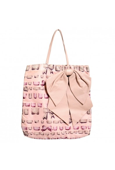 Red Valentino Women's Pale Pink Leather Trimmed Bow Decorated Tote Shoulder Bag