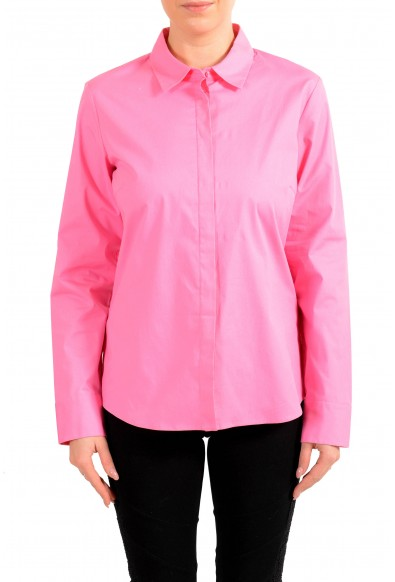 "Hugo Boss Women's ""Banew3"" Pink Long Sleeve Button Down Blouse Top"