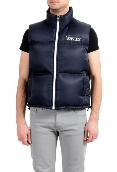 Versace Men's Blue Down Logo Full Zip Sleeveless Parka Vest