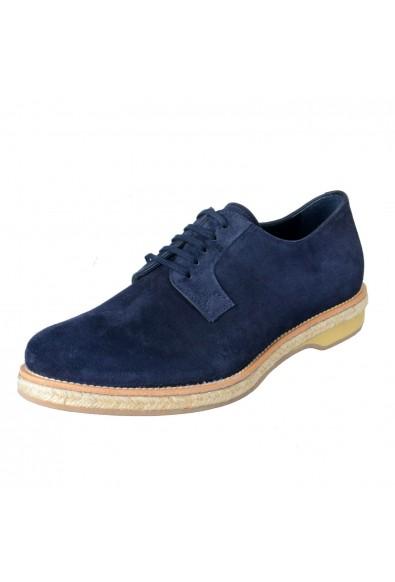 Prada Men's Blue Suede Lace Up Oxfords Shoes