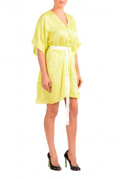 Just Cavalli Women's Yellow Silk Deep V-Neck Belted Dress : Picture 2