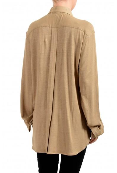 Malo Women's Brown Linen Button Down Blouse Top: Picture 2