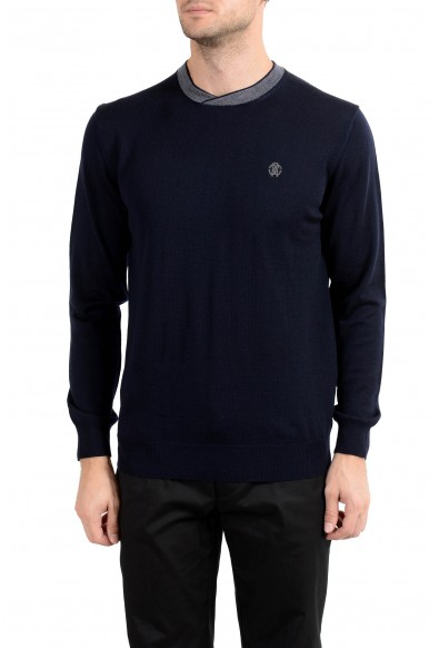 Roberto Cavalli Men's 100% Wool Navy Blue Crewneck Sweater