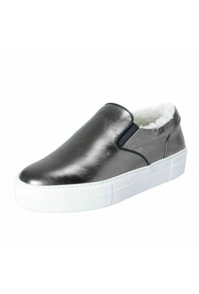 Moncler Women's NEW ROSELINE Leather Shearling Loafers Slip On Shoes