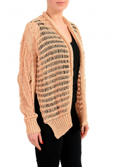 Maison Margiela 1 Beige Distressed Women's Buttonless Cardigan Sweater : Picture 2