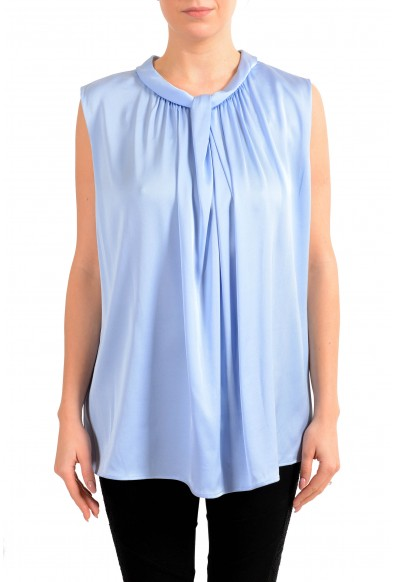 "Hugo Boss Women's ""Lyabo"" Blue Silk Sleeveless Blouse Top"