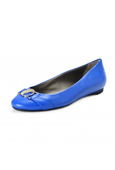 Versace Collection Women's Royal Blue Leather Ballets Flat Shoes