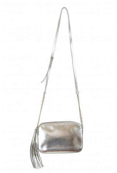 "Jimmy Choo Women's Silver Leather ""Athini"" Camera Shoulder Crossbody Bag"