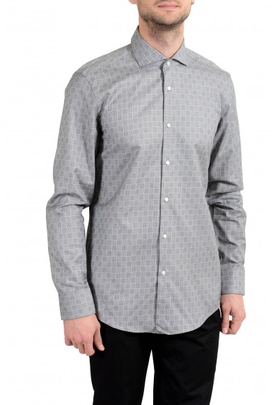 "Hugo Boss ""Jason"" Men's Slim Plaid Gray Long Sleeve Dress Shirt"