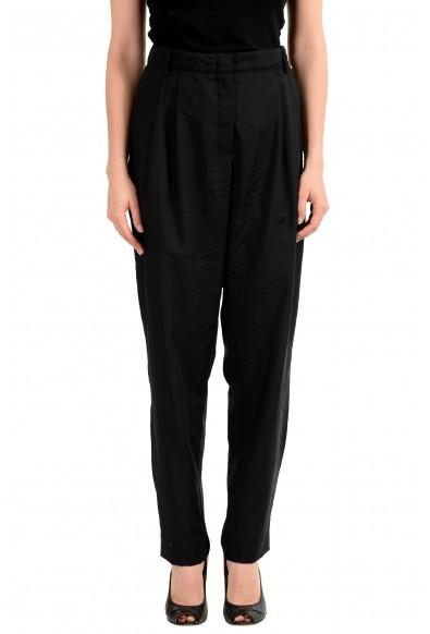 Versus By Versace Women's Black 100% Wool Pleated Pants